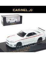 CarNel models 1:64 Diecast Model Car - Nissan GT-R Nismo R34b GT-R Z-Tune Pearl White (With Nismo line)