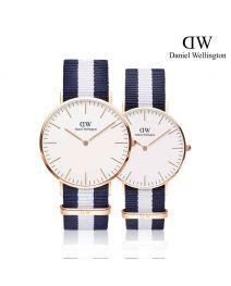 Daniel Wellington Classic Glasgow 玫瑰金 尼龍帶情侶套裝手錶