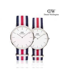 Daniel Wellington Classic Canterbury 銀色 尼龍帶情侶套裝手錶