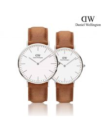 Daniel Wellington Classic Durham 銀色 皮帶情侶套裝手錶