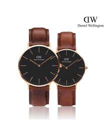 Daniel Wellington Classic St Mawes Black 玫瑰金 皮帶情侶套裝手錶