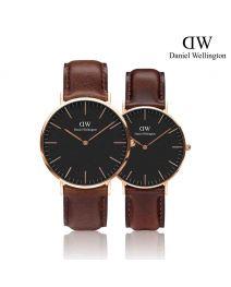 Daniel Wellington Classic Bristol Black 玫瑰金 皮帶情侶套裝手錶