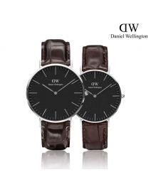 Daniel Wellington Classic York Black 銀色 皮帶情侶套裝手錶
