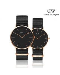 Daniel Wellington Classic Cornwall Black 玫瑰金 尼龍帶情侶套裝手錶