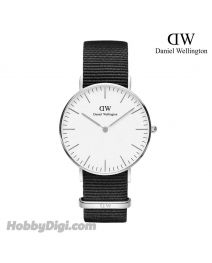 Daniel Wellington 36mm Classic Cornwall 銀色 尼龍帶女裝手錶 DW00100260