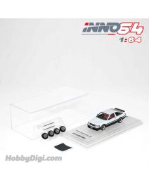 INNO64 1:64 合金模型車 - TOYOTA COROLLA Levin AE86 White With Extra Wheels and Carbon Effect Front Bonnet Decal