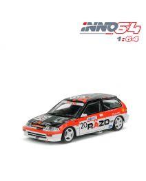 INNO64 1:64 合金模型車 - Honda Civic EF3 Gr.A No20 RAZO Macau Guia Race 1989 Class Winner