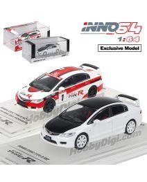 INNO64 1:64 香港特別版合金模型車 - Honda Civic Type R FD2 一套兩架