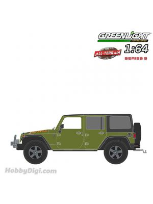Greenlight 1:64 Diecast Model Car - All-Terrain Series 9 - 2010 Jeep Wrangler Unlimited Mountain Edition, rescue green