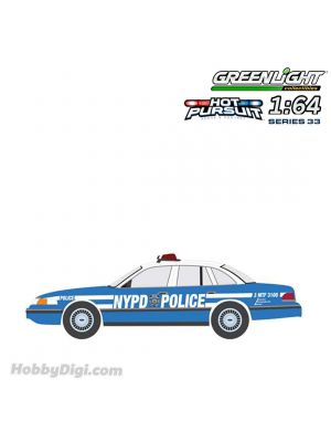 Greenlight 1:64 Diecast Model Car - Hot Pursuit Series 33 - 1993 Ford Crown Victoria Police Interceptor New York City Police Dept (NYPD).