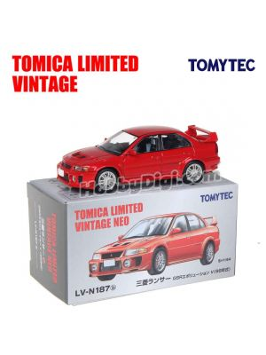 TOMYTEC Tomica Limited Vintage NEO Diecast Model Car - LV-N187b Mitsubishi Lancer GSR Evolution V (Red)