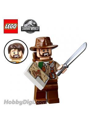 LEGO Loose Minifigure Jurassic World: Sinjin Prescott with machete and map