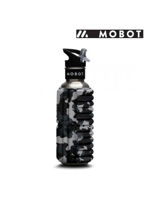 Mobot Foam Roller Water Bottle - 27oz/0.8L - Grey/White/Black