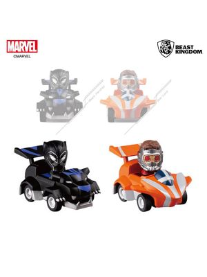 Beast Kingdom Marvel Avengers: Endgame Pull Back Car Series - Star Lord & Black Panther Set (10th Anniversary Exclusive Edition)