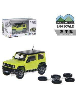 BM Creations Junior 1:64 Diecast Model Car - Suzuki Jimny JB74 Kinetic Yellow + Bluish Black Pearl 3 Top (DG5) (LHD)