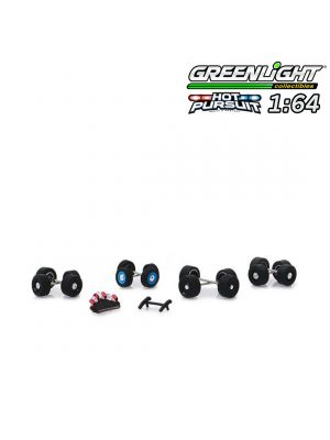 Greenlight 1:64 配件 - Hot Pursuit Wheel & Tire Pack - 16 Wheels, 16 Tires, 8 Axles, Light Bars, Push Bars (Hobby Exclusive)