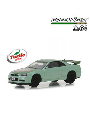 Greenlight 1:64 Diecast Model Car - 2000 Nissan Skyline GT-R (R34) - Two-Tone Green - Turtle Wax (Hobby Exclusive)