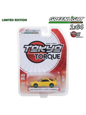 Greenlight 1:64 Limited Diecast Model Car - Tokyo Torque S4 2001 Nissan Skyline GT-R BNR34 Lightning Yellow