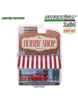 Greenlight 1:64 Limited Diecast Model Car - The Hobby Shop S5 1962 VW Type 3 Squareback w Surfboards