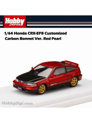 Hobby JAPAN Diecast Model Car - 1/64 Honda CRX-EF8 Customized Carbon Bonnet Ver. Red Pearl