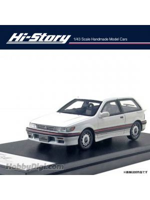 Hi-Story 1:43 Hand Made Resin Model Car - MITSUBISHI MIRAGE CYBORG DOHC 16V-T (1987) Sophia White