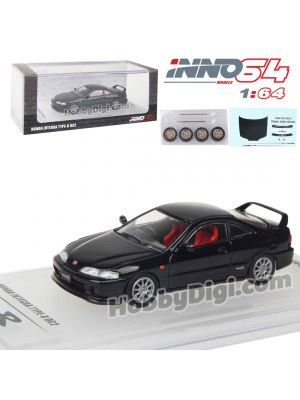 INNO64 1:64 Diecast Model Car - HONDA INTEGRA TYPE R DC2 1996 Black With Extra Wheels & Extra Decals Sheet