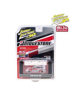 Johnny Lightning 1:64 MiJo Exclusives  限量版合金車 - 50th Anniversary - 1990 Honda CRX Bridgestone White