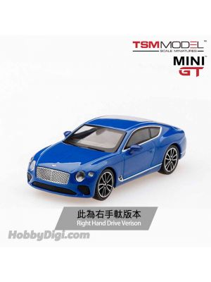 TSM 1:64 Mini GT 合金車 - Bentley Continental GT 2018 Sequin Blue (右手軚)