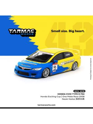 Tarmac Works 1:43 合金模型車 - Honda Civic Type R FD2 - Honda Exciting Cup One Make Race 2008 - 服部尚貴