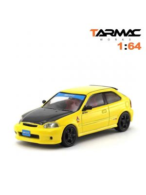 Tarmac Works HOBBY64 模型車 - Honda Civic Type R EK9 Yellow with Black Bonnet Tuned By SPOON