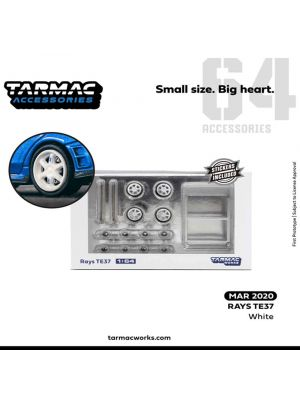 Tarmac Works 1:64 Model Car Accessories - Rays TE37 - White
